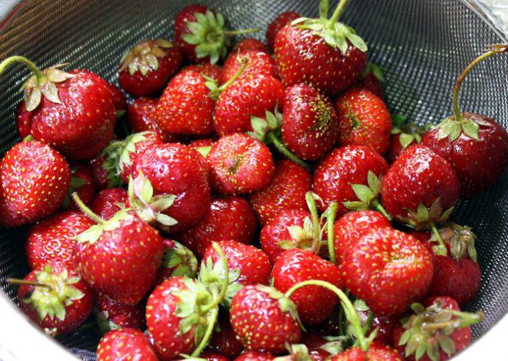 strawberries in a colander